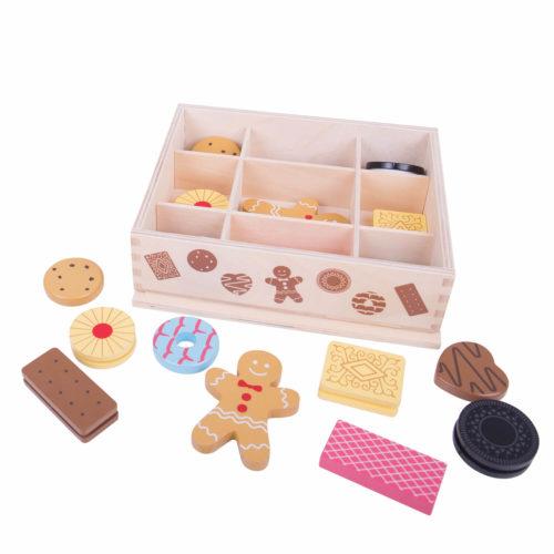 Houten Doos met Koekjes op Tafel Sassefras Meisjes Speelgoed