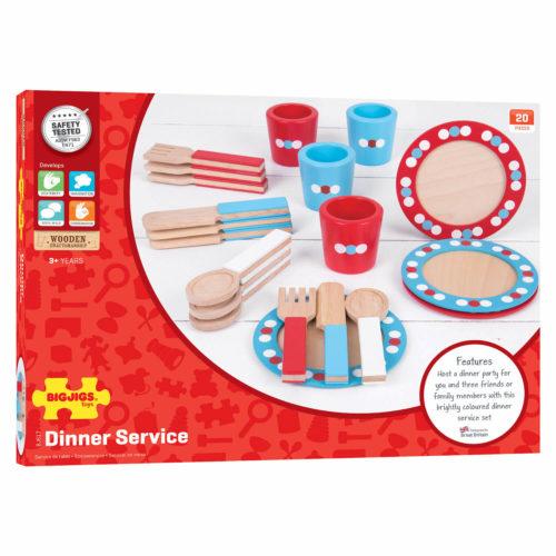 houten servies rood blauw in doos Sassefras Meisjes Speelgoed