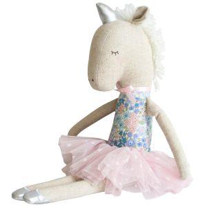 Yvette Unicorn Liberty Blue zittend Sassefras Meisjes Speelgoed