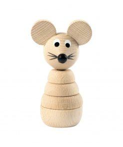 houten stapelfiguur muis Sassefras