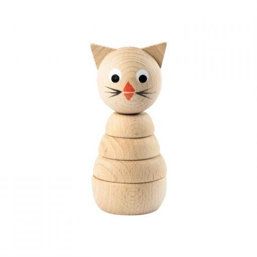 houten stapelfiguur poes Sassefras