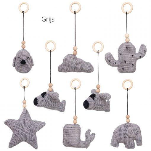 losse speeltjes voor de babygym grijs Sassefras