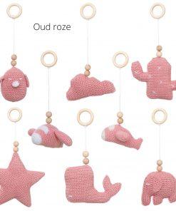 losse speeltjes voor de babygym oud roze Sassefras