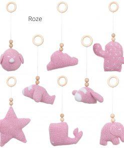 losse speeltjes voor de babygym roze Sassefras