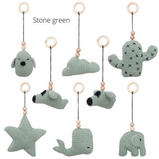 losse speeltjes voor de babygym stone green Sassefras