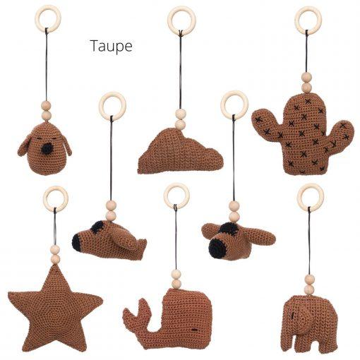 losse speeltjes voor de babygym taupe Sassefras