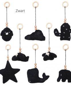 losse speeltjes voor de babygym zwart Sassefras