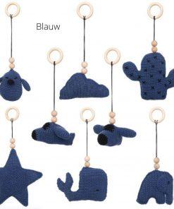 losse speeltjes voor de babygym blauw Sassefras