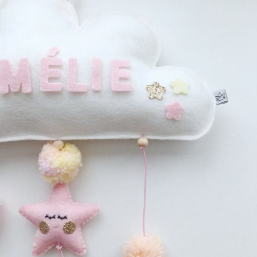 vilten naam mobiel wolk pastel detail Sassefras Meisjes Speelgoed