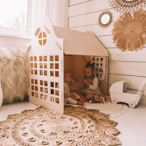 houten speelhuisje voor binnen met kindjes Sassefras