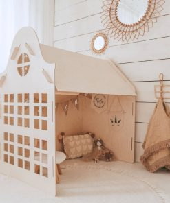 houten speelhuisje voor binnen met open zijkant Sassefras