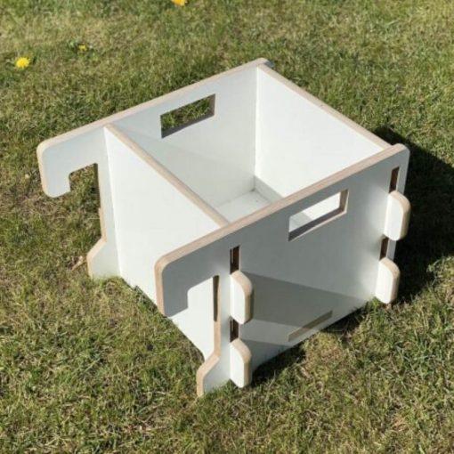 multiplex speelgoedbak in witte betonplex uitvoering Sassefras