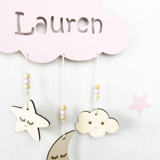 houten wolkhanger met naam Lauren Sassefras Meisjes Speelgoed