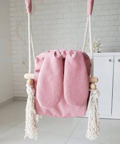 houten babyschommel met bunny oren roze achterkant Sassefras Meisjes Speelgoed