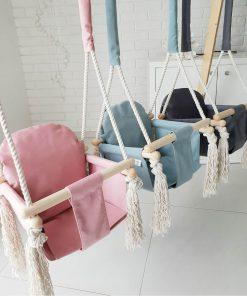 houten babyschommel met bunny oren roze Sassefras Meisjes Speelgoed