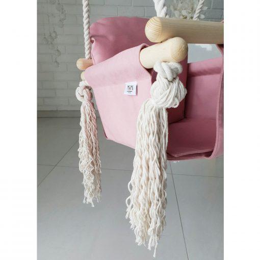 houten babyschommel met bunny oren roze tassels Sassefras Meisjes Speelgoed