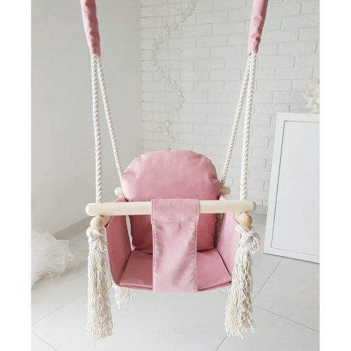 houten babyschommel met bunny oren roze voorkant Sassefras Meisjes Speelgoed