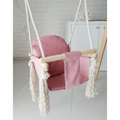 houten babyschommel met bunny oren roze voorkant schuin Sassefras Meisjes Speelgoed