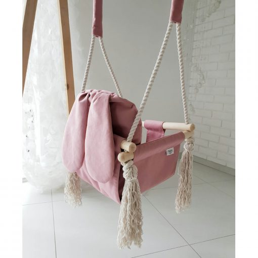 houten babyschommel met bunny oren roze zijkant Sassefras Meisjes Speelgoed