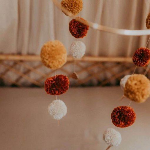 pompom mobile cotton design close up Sassefras