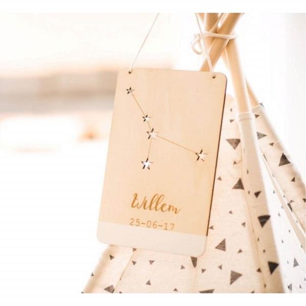 houten sterrenbeeld bordje geboortebordje