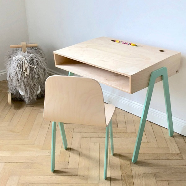 kinderbureau mintgroen In2Wood Sassefras