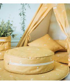 ronde ottoman poef sfeer honey mustard Sassefras