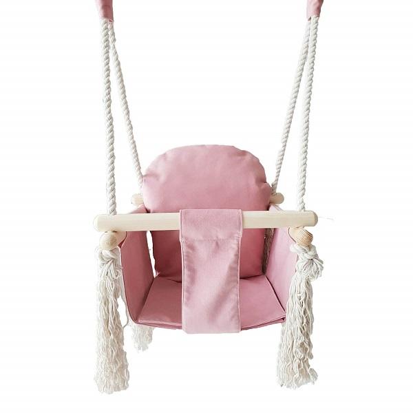 babyschommel in roze velours