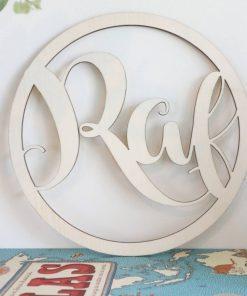 ronde houten hanger met naam RAF Sassefras
