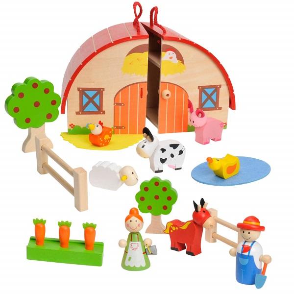 houten draagbare speelset boerderij