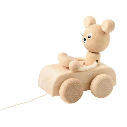 naturel houten trekfiguur beer in auto Sassefras