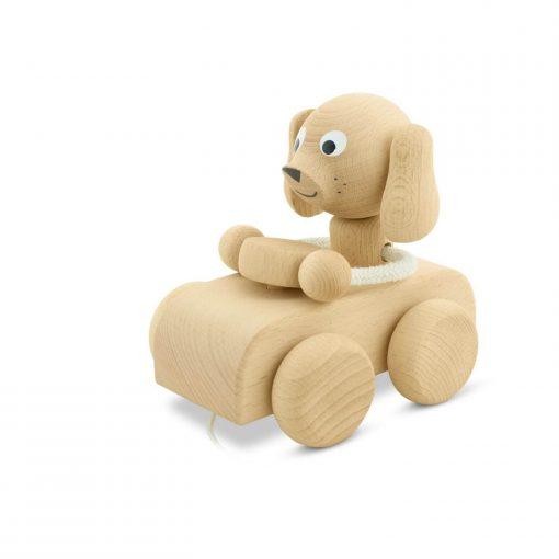 naturel houten trekfiguur hond in auto Sassefras