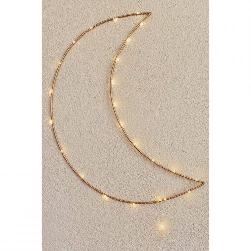 handgemaakte maanlamp met led lichtjes dichtbij Sassefras