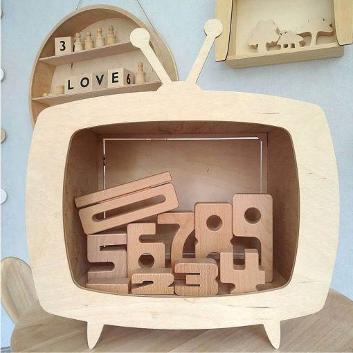 multiplex kinderkastje in de vorm van een televisie met deur Sassefras