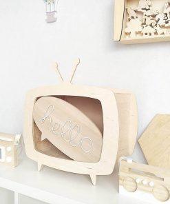 multiplex kinderkastje in de vorm van een televisie zonder deur Sassefras