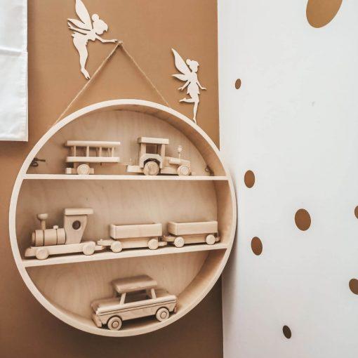 ronde houten wandrek Sassefras