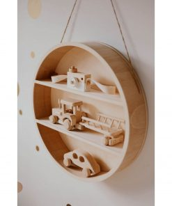 ronde houten wandrek met accessoires Sassefras