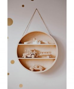 ronde houten wandrek met speelgoed Sassefras