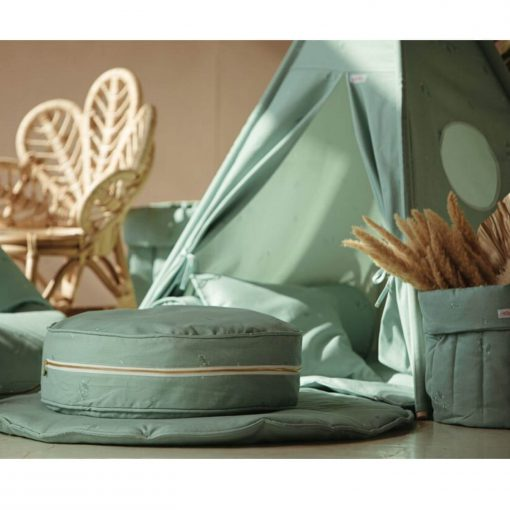 ronde poef minty green sfeerfoto Sassefras