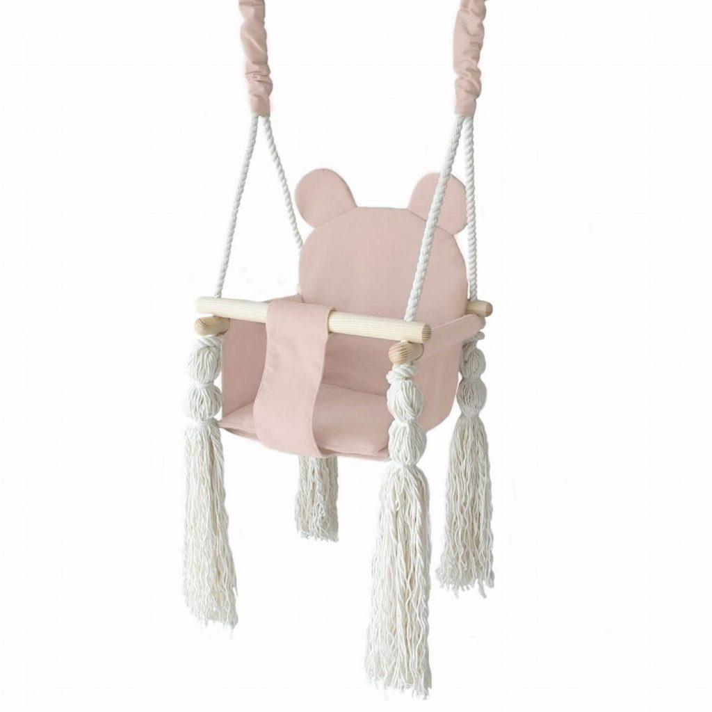 schommel met berenoortjes roze Sassefras cadeautjes
