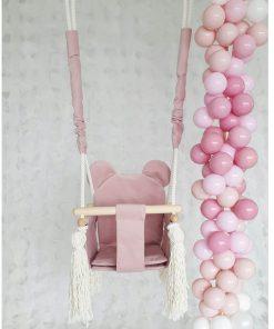 schommel met berenoortjes roze met ballonnen Sassefras
