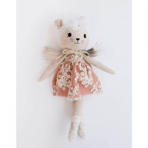 Wonderforest knuffel muis met jurk roest Sassefras