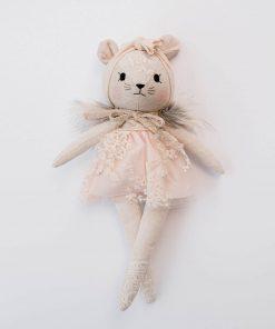 Wonderforest handgemaakte muizen knuffel met roze jurk Sassefras