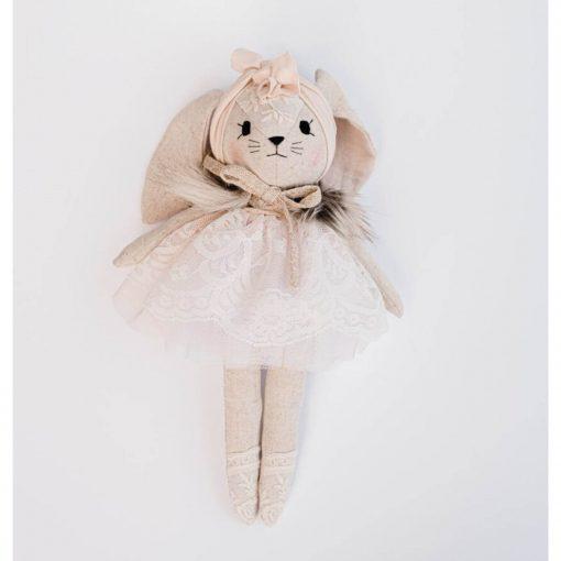 luxe stoffen knuffel konijn met poederroze kanten jurkje Sassefras