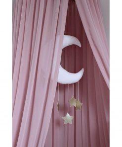 blush roze canopy met mobile erin Sassefras