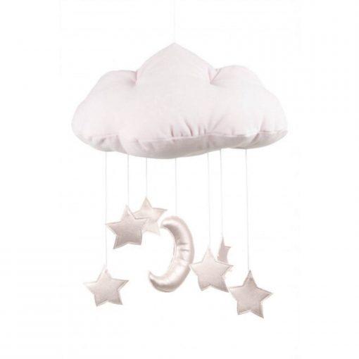 mobile wolk met sterren roze Sassefras