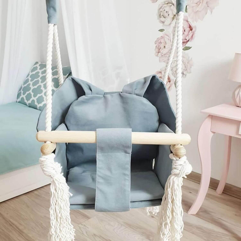 houten bunny schommel blauw Sassefras