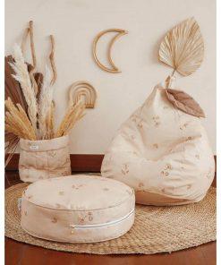 mini zitzak met blad powder beige Sassefras