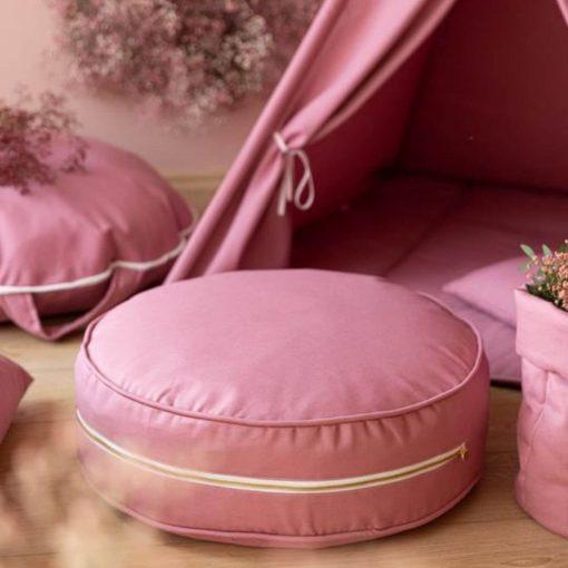 roze ronde ottoman poef wigiwama Sassefras