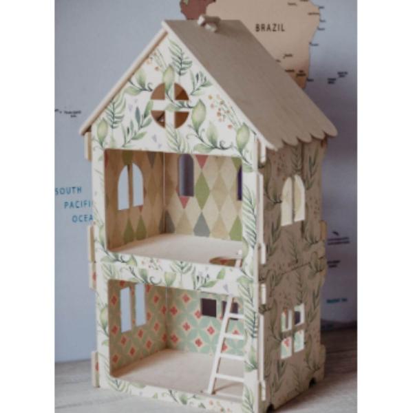 Poppenhuis van hout Modular House Green met print